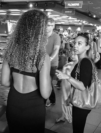 Blackandwhite Candid Conversation Friends Maxidress Openback Streetphotography