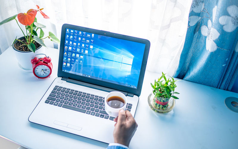 High angle view of woman using laptop on table