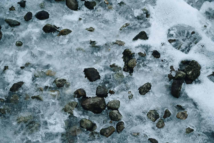 Winter Ground Solid Rock Nature Rock - Object No People High Angle View Day Outdoors Close-up Cold Temperature Frozen Rock Rocks Ground Outdoor Frozen Frozen Nature Snow Winter Wintertime Backgrounds Background