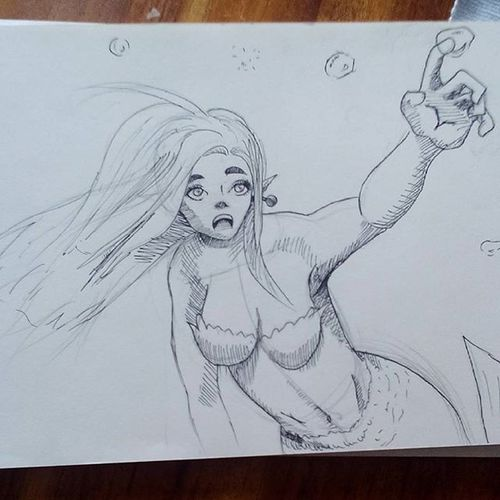 Its done :D yay! Drawing Inking Ink Mermaid Commision Small_artist_help Fun Bubbles Surprise