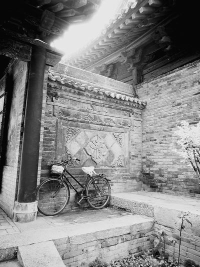 Black and white Architecture No People Built Structure Bicycle Antique