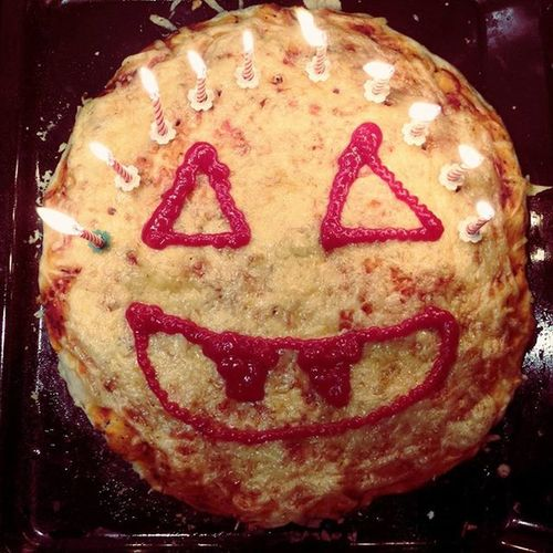Jack-o'-lantern birthday pizza Happyhalloween SpookyHalloween