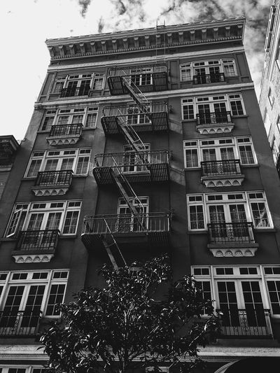 Architecture Building Exterior Low Angle View Built Structure Balcony Fire Escape Outdoors Window No People Apartment City Sky Blackandwhite San Francisco Building