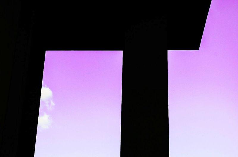 Shadow Silhouette Purple Minimalism Sky Clouds Window