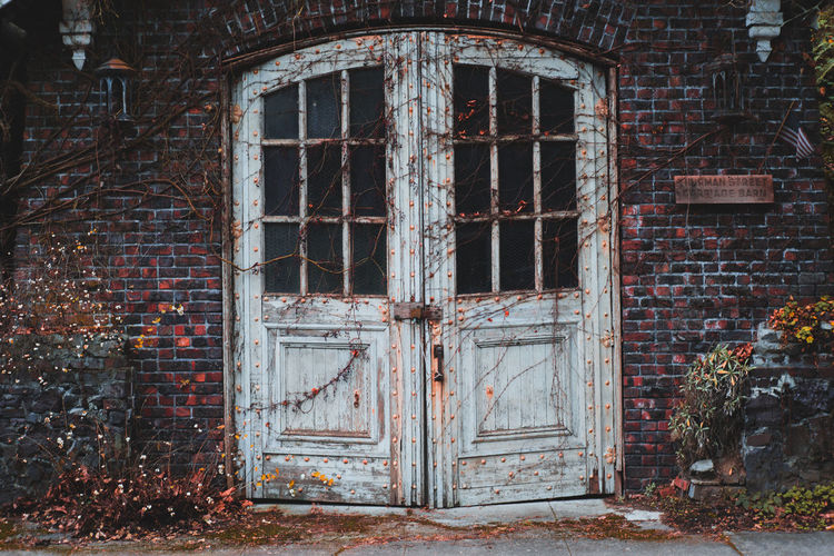 Closed Door Of Abandoned Building
