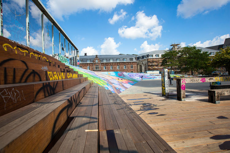 skate park in Brussels Belgium Brussels Architecture Art And Craft Bridge Bridge - Man Made Structure Building Exterior Built Structure City Cloud - Sky Connection Day Graffiti Multi Colored Nature No People Outdoors Railing Skate Park Sky Street Sunlight Transportation