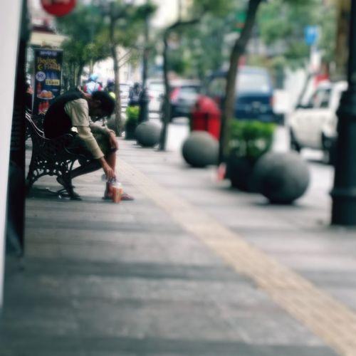 Reaching Life (Street homeless) Street Life Street Photography Streetbench Sidewalk Homeless Homeless People Afternoonsun Mycity Bandung In My First Eyeem Photo