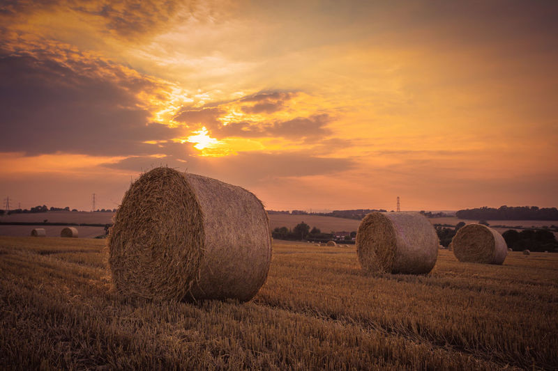 Hay Bales On Agricultural Field Against Sky During Sunset