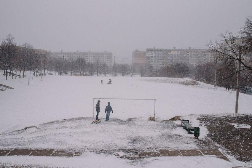 Playground in Chisinau, Republic of Moldova Chişinău Cold Temperature Moldova Outdoors Playground Snow Weather Winter