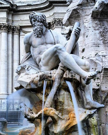 ------Piazza Navona------ Mbannisterphotography Photography Photographer Nikon Nikontop Nikon_photography_ History Statue Water Marble Roman God PiazzaNavona Holiday Vacation Muscle Fit Italy Italia Roma Rome Instaitalia Travel Places World