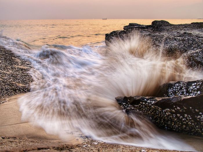 long expo ocean wave Motion Beach Long Exposure Water Landscape Travel Destinations Waterfall Sunset Sea Wave Nature No People