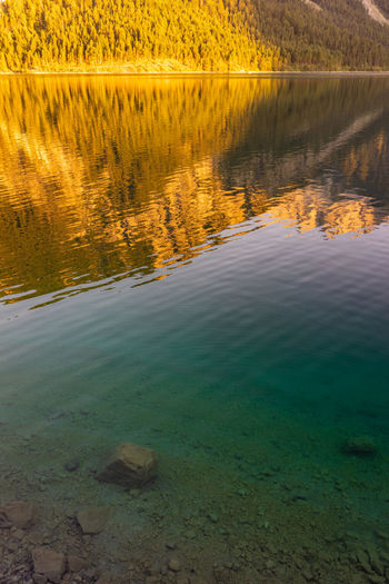 Mountain reflections in the water Mountains Reflection Alps Austria Sunset Blue Yellow Trees