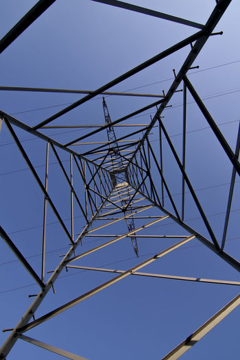 Directly below shot of electricity pylons against clear blue sky