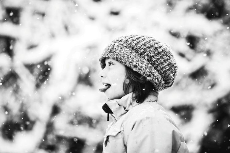 Close-Up Of Girl In Snow