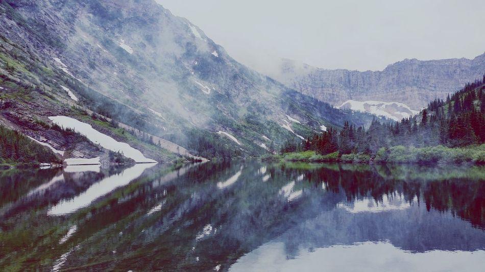 Misty Mountains Waterton Lakes National Park Mountains Water Reflections Water Cold Sky