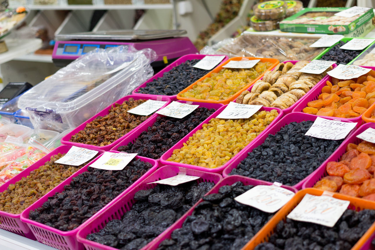 market, retail, choice, food, market stall, food and drink, for sale, variation, freshness, business, large group of objects, small business, retail display, container, abundance, multi colored, spice, high angle view, arrangement, no people, order, sale, consumerism