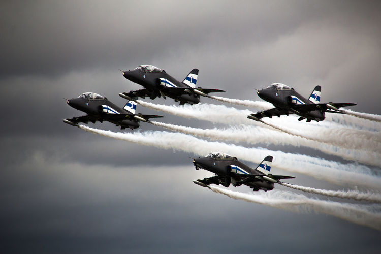 Acrobatic Activity Aerobatics Air Force Air Vehicle Airplane Airshow Arrangement Cloud - Sky Day Fighter Plane Flying Hawk Low Angle View Mid-air Midnight Hawks Military Military Airplane Motion No People Outdoors Sky Smoke - Physical Structure Speed Teamwork Vapor Trail
