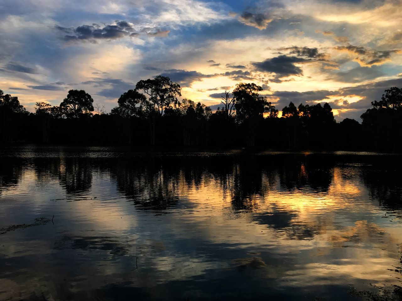 reflection, sunset, water, lake, tree, sky, silhouette, scenics, tranquil scene, tranquility, nature, cloud - sky, beauty in nature, no people, outdoors, waterfront, day