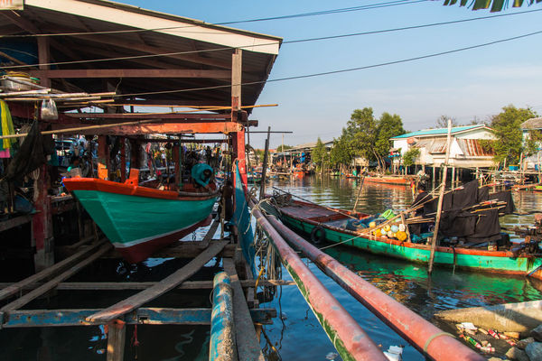 Local architecture for fisherman at Bangpu-Thailand Architecture Asia; Boat; Building Exterior Countryside; Culture; Day Fisherman; Fishing; Heritage; Home; Moored Natural; Nautical Vessel Occupation; Outdoors Peaceful; Residence; Sea; Sky Transportation Tropical; Vacation; Village; Water