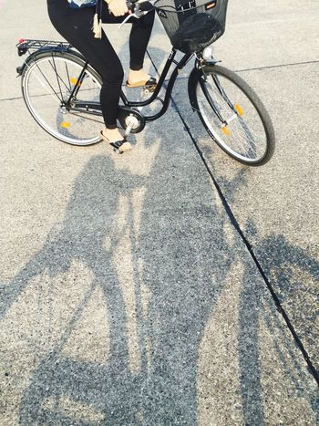 Bike Bycicle Summer Bare Feet Sandals Shadow Movement Unrecognizable Person Forward Warm Weather Fredoom Runway Airport Berlin Tempelhofer Feld
