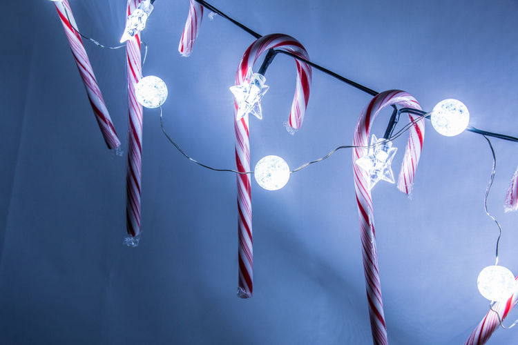Candy canes and lights Christmas Holiday Candy Candy Cane Close-up Decoration Hanging Illuminated Light Bulb Low Angle View