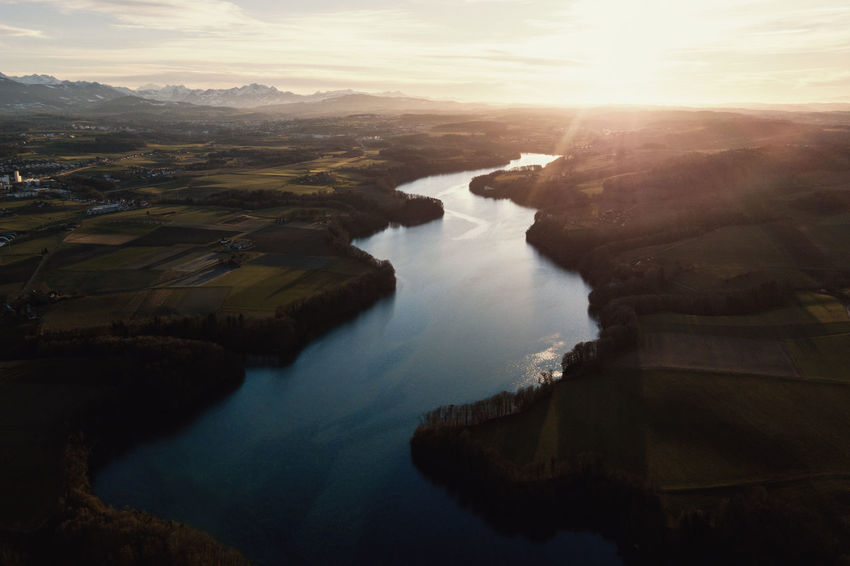 Aerial Shot DJI Mavic Pro Schiffenensee Aerial Photography Aerial View Beauty In Nature Dronephotography Landscape Nature Physical Geography River Scenics Sunlight Sunset Tranquil Scene Tranquility Water