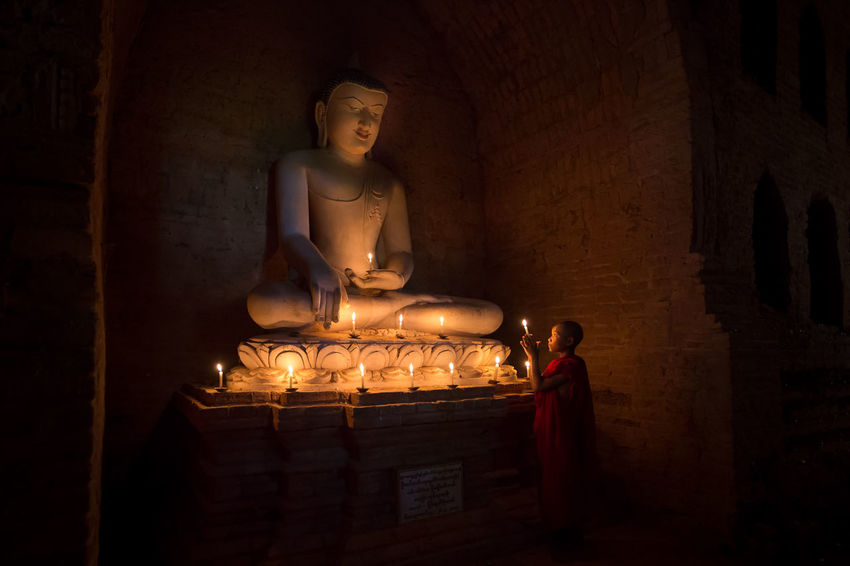 Be. Ready. EyeEm Selects One Person Standing Bhuddhism Bhuddha Monk  Novice Monk Candles Candle Light