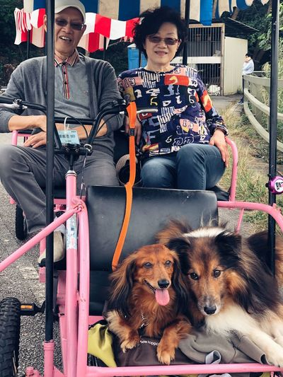 Family Time Bicycle Cycling Domestic Pets Mammal One Animal Domestic Animals Canine This Is Family Dog Real People People Sitting Lifestyles Looking At Camera Portrait Pet Owner Day