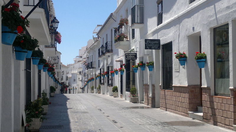 Mijas Pueblo street Andalucía Architecture In A Row Malaga Mijas SPAIN Village White