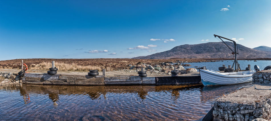 Photo Merge Photography Fionn Loch Scotland 💕 Small Mooring Loch Side Blue Sky Day Man Made Structures No People Tranquil Scene