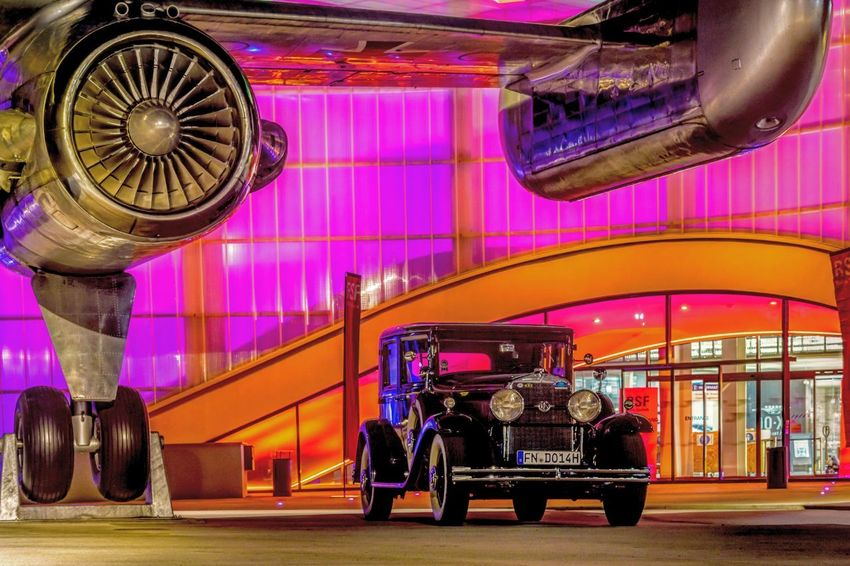 Car Plane Museum Illuminated City Multi Colored Architecture