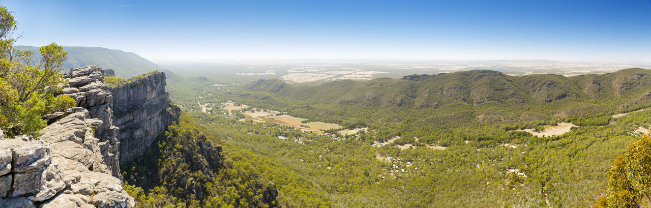 Panorama of Halls Gap in the Grampians National Park, Victoria, Australia Mountain Scenics - Nature Environment Beauty In Nature Landscape Nature Mountain Range Tranquil Scene Day Tree Plant Tranquility Rock No People Sky Non-urban Scene Land Idyllic Outdoors Rock - Object Mountain Peak Halls Gap The Grampians Australia Panorama Mountains