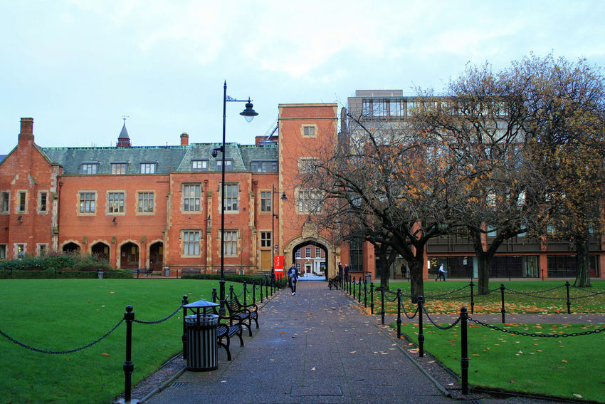 Belfast City Cityscape Northern Ireland Queen's University United Kingdom Architecture Building Exterior Built Structure City Day Grass Outdoors Sky Tree Uk University
