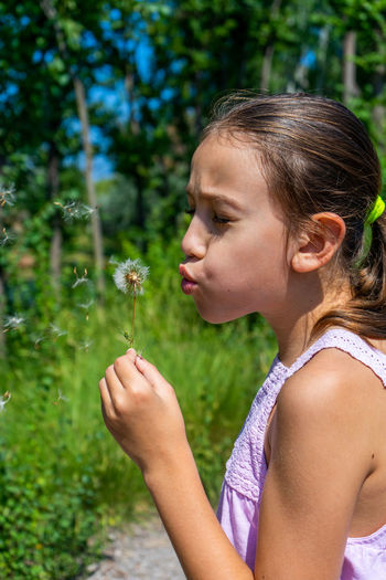 Side view of girl holding dandelion seed standing outdoors