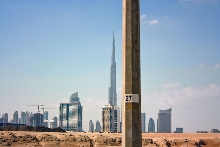 Burj Khalifa Dubai Lamp Post On The Road Out Of Proportion Proportion Skyline TakeoverContrast