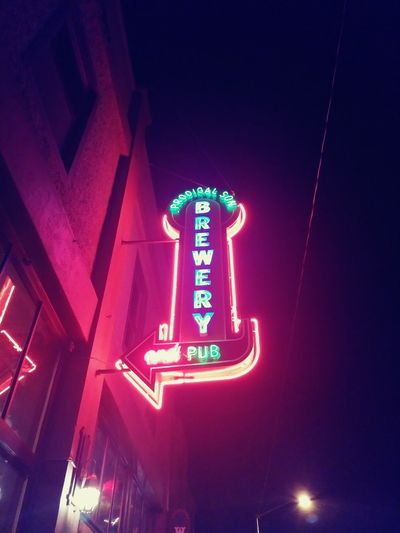 Illuminated Night Neon Low Angle View No People Nightlife Road Sign Outdoors Alcohol Dark Oregon Drink