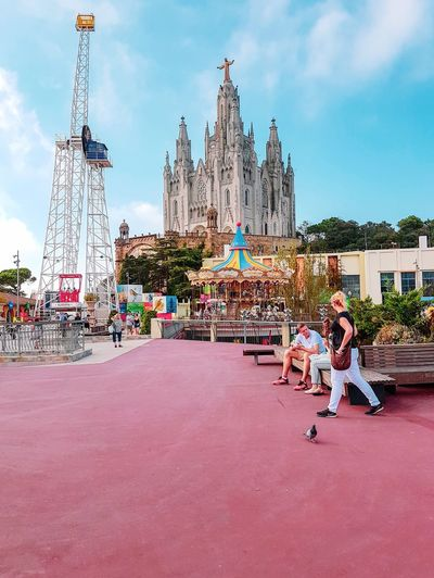 Tibidabo Built Structure Architecture Sky Building Exterior Cloud - Sky Nature Real People Building City Day Amusement Park People Amusement Park Ride Outdoors Arts Culture And Entertainment Leisure Activity EyeEmNewHere