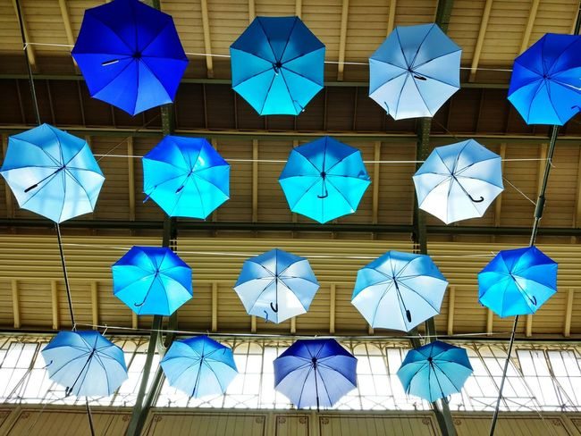 Full Frame Pattern Hanging Outdoors Day No People Sky Berlin Low Angle View Berlin Mitte Arminiusmarkthalle Moabit Indoors  Umbrellas Hanging Blue Art Installation Discover Berlin