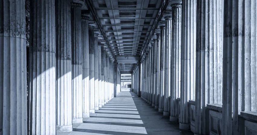 Architectural Column Architecture Black & White Black And White Built Structure City Lights Colonnade Day EyeEm Best Edits EyeEm Gallery EyeEmBestPics In A Row Indoors  Light And Shadow Monochrome Monochrome Photography No People Pillars Row The Way Forward The City Light
