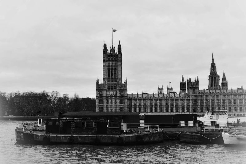 Barges on the Thames Photowalktheworld Thames Vintage Themes Old Photo Style Nikon City Politics And Government Water Nautical Vessel Urban Skyline Clock Tower Cityscape Cultures River Sky Moored Boat Office Building Water Vehicle