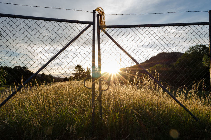 Fence on field against sky during sunset
