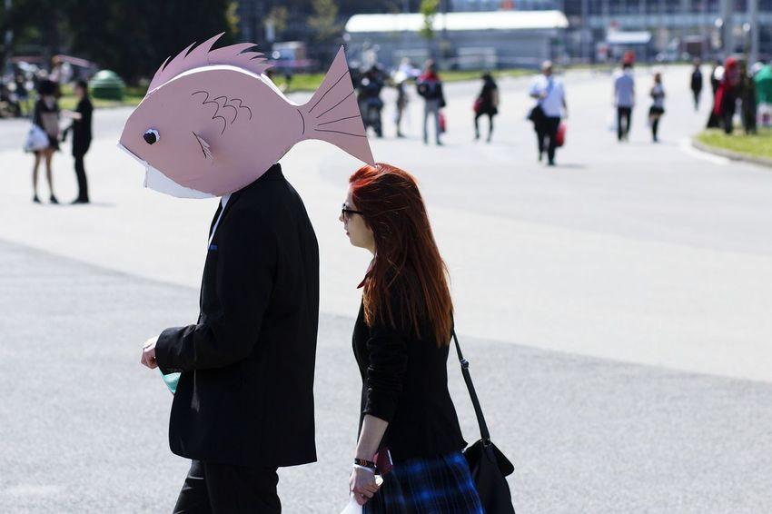 Fish Businessman Fishhead Halloween Costumes