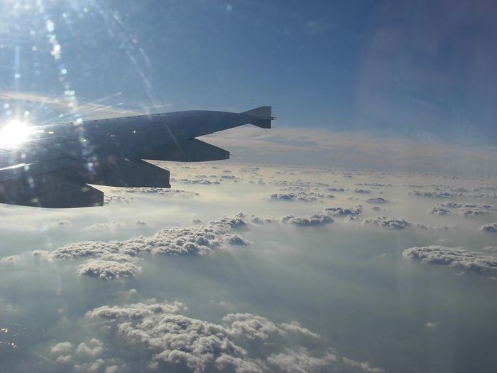 Sky Flying Aerial View Mid-air Scenics Cloud - Sky Airplane Airplane Wing Mode Of Transport inflight