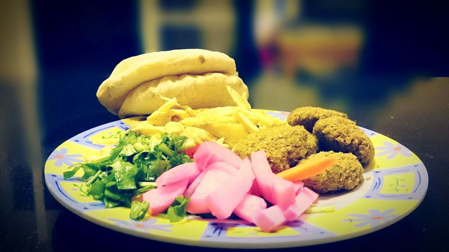 Egyptian Local Food Flafel Pickles Homemade Fries