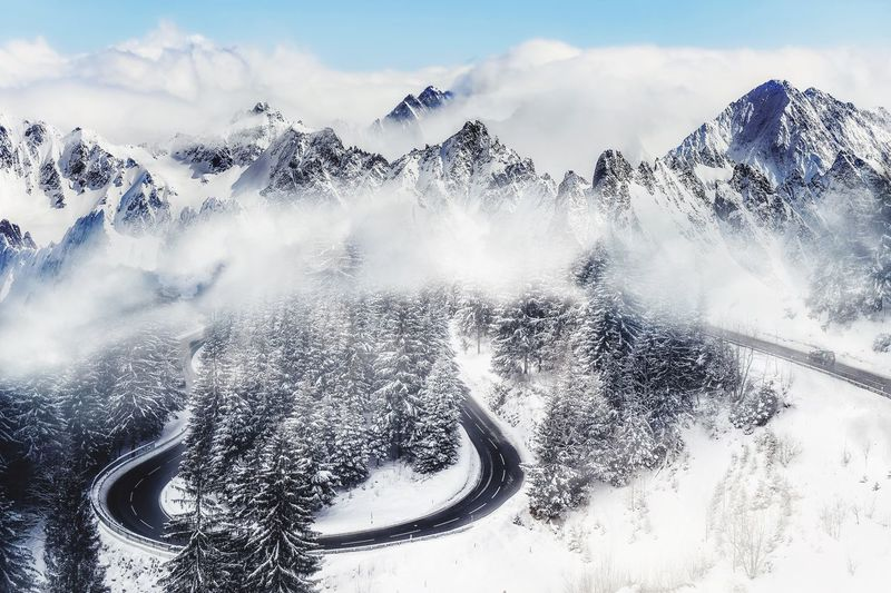 Road to the Mountains Alpine Alpen Alps Snow Mountain Landscape Landscape_photography Mountain Range Mountain Peak Mountain View Mist Fog Manipulation EyeEm Selects Sky Water Nature Cloud - Sky Day No People Outdoors Tree Travel Land Creativity