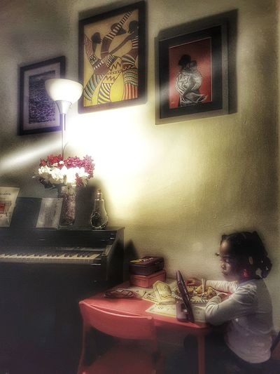 Dinner with a movie Child Food Piano Artistic Photography Imperfection Smooth Light Relaxing