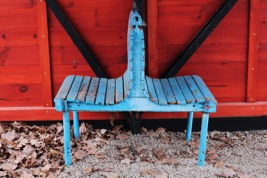 Pair Of Chairs Vivid Colours  No People Red Blue Chairs In The Nature Close-up Outdoors Waiting Area