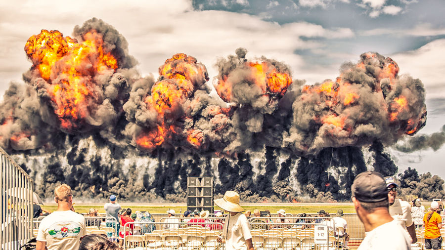 Air Show Color Explosion Explosions Explosive Action Motion Fire Boom