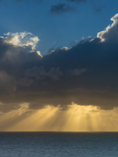 Cloud - Sky Sky Beauty In Nature Sea Scenics - Nature Horizon Horizon Over Water Water Tranquility Nature Sunlight Tranquil Scene No People Idyllic Outdoors Sunset Waterfront Dramatic Sky Day Ominous Sunbeam Sunbeams Sunset_collection