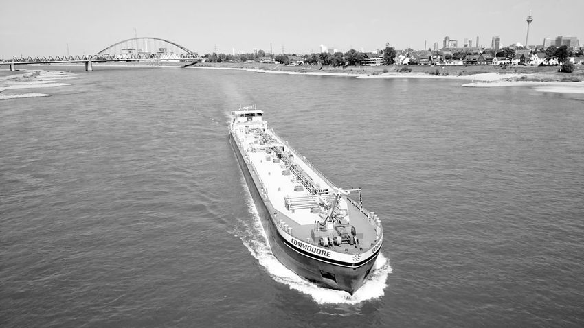 Black And White OpenEdit Düsseldorf River Watching Boats